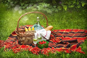 Picnic basket with food and drink