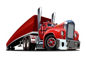 Cartoon retro semi truck isolated on