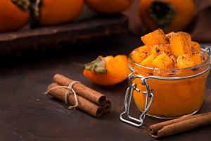 Persimmon jam or marmalade in glass