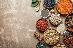 top view of superfoods, legumes and