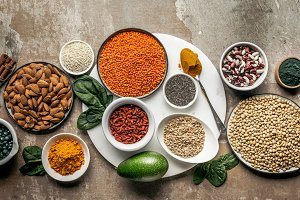 top view of superfoods, oat groats a
