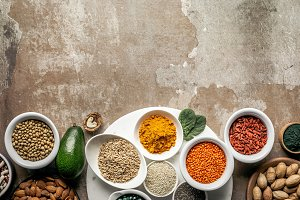top view of superfoods and legumes o
