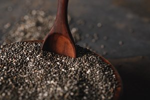 selective focus of chia seeds in woo