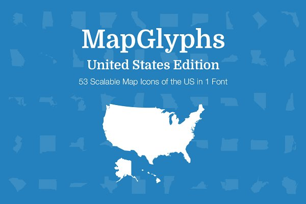 Symbol Fonts: Vector Maps - MapGlyphs - United States