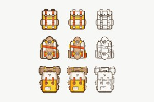 vector icons with backpacks
