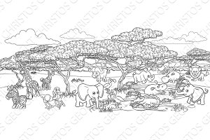 Safari Cartoon Animal Background