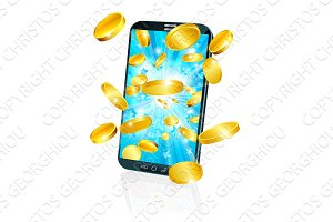 Mobile Cell Phone Flying Coin Money