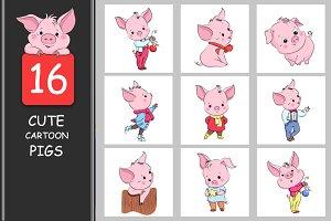 Set of cute cartoon pigs