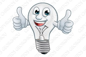 Light Bulb Cartoon Character