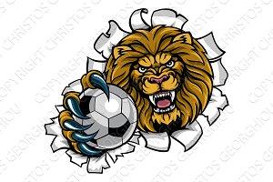 Lion Holding Soccer Ball Breaking