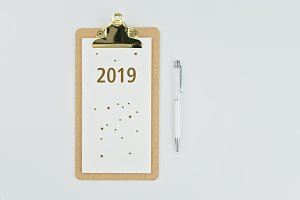 New year 2019 calendar with notebook