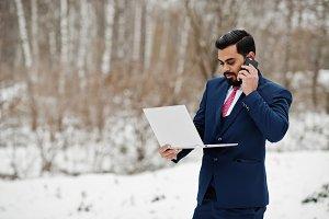 Stylish indian beard business man in