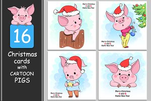 Year of Pig 2019. Greeting cards