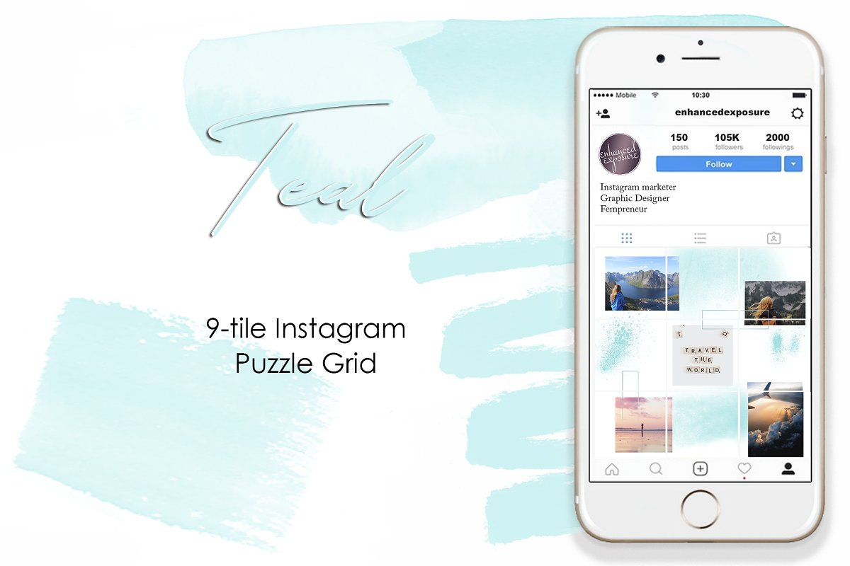 Instagram 9-Tile Puzzle Grid - Teal in Instagram Templates - product preview 8