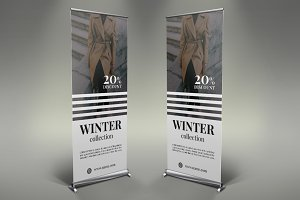 Winter Clothes Roll-Up Banner