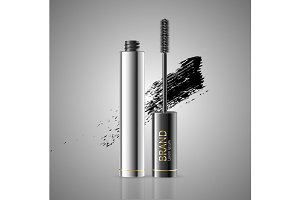 Mascara Package with Brush. Vector