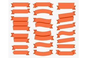 Decoration Red Ribbon Set. Vector