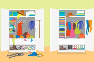 Untidy and After Tidy Wardrobe