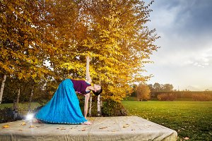 Yoga in the Autumn Park