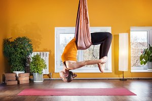 Antigravity yoga in hammock