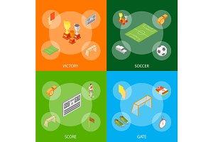 Soccer Sport Game Signs 3d Set