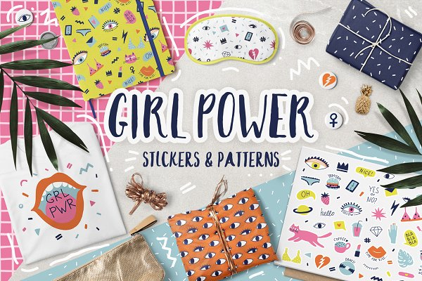 Graphic Objects: Bosotochka❤️Art - Girl Power stickers & patterns