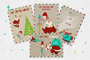 Christmas cartoon postcards pack