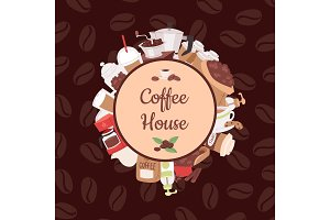 Coffee pattern vector coffeebeans