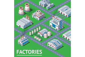 Factory vector industrial building