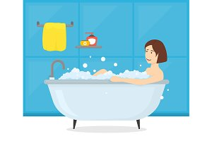 Woman in Bathroom Bathtub Card