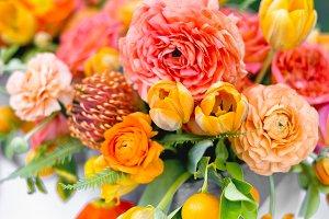 Bright Orange & Pink Flowers