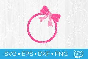Bow Circle Monogram SVG Cut File