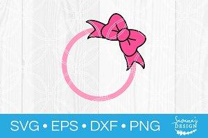 Hair Bow Circle Monogram SVG File