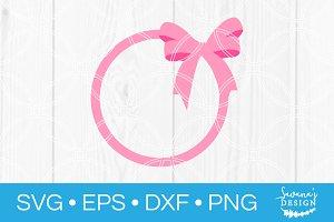 Hair Bow Circle Monogram SVG