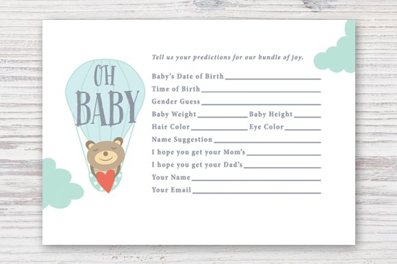 Printable Baby Prediction Card