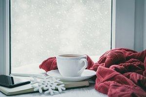Winter cozy hot chocolate