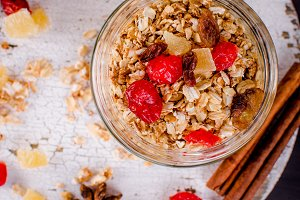 Healthy Breakfast set Granola in gla