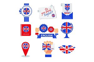 Bright flat banner for English