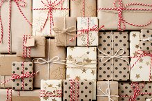 Christmas background with gift boxes by  in Holidays