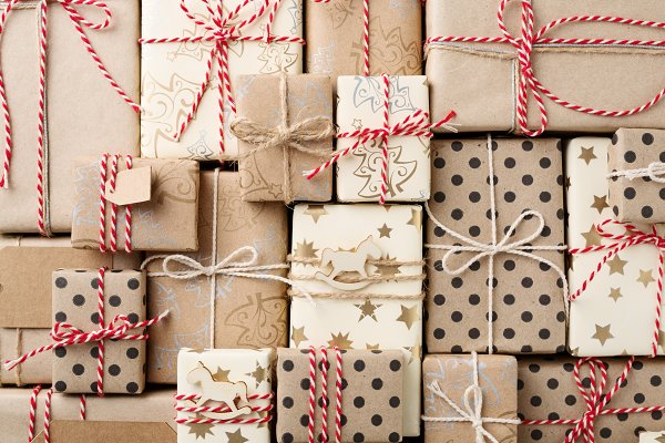 Holiday Stock Photos: OlliUlli - Christmas background with gift boxes