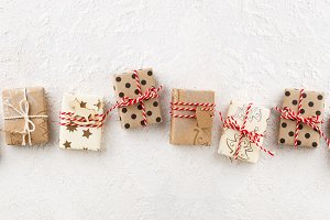 Christmas banner with gifts on white