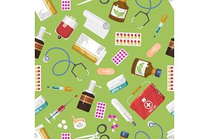 Medicine seamless pattern. First aid