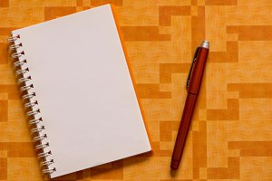 A white open notebook