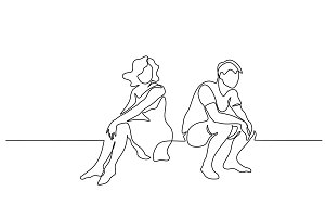 Couple woman and man sitting