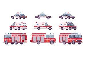 Police car, ambulance, fire truck