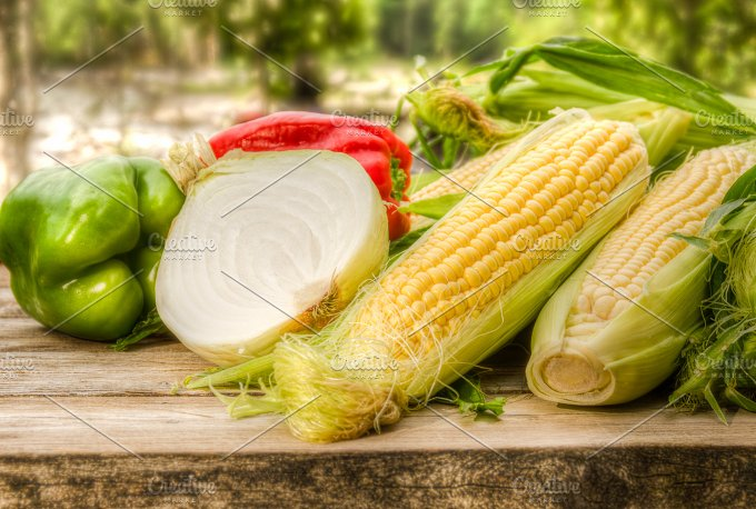 Sweet corn with vegetables ~ Food & Drink Photos on Creative Market