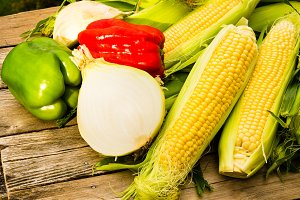 Sweet corn and vegetables