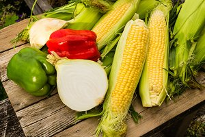 Vegetables and yellow corn