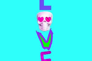 Contemporary art collage. Text Love