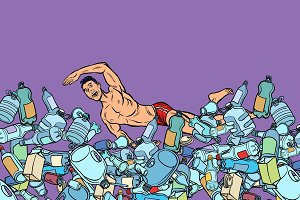 swimmer at plastic waste. ocean
